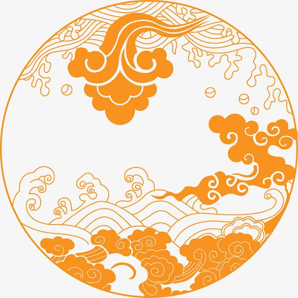 [矢量] 古典云纹水波插图-泛设计