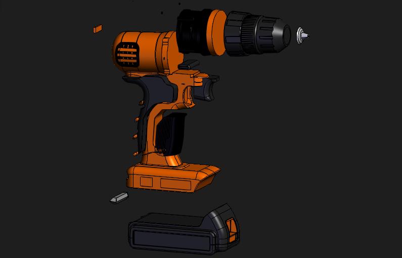 [模型]锂电池手钻模型 | 手电钻 | 手电钻CAD模型 | 工业产品插图2-泛设计