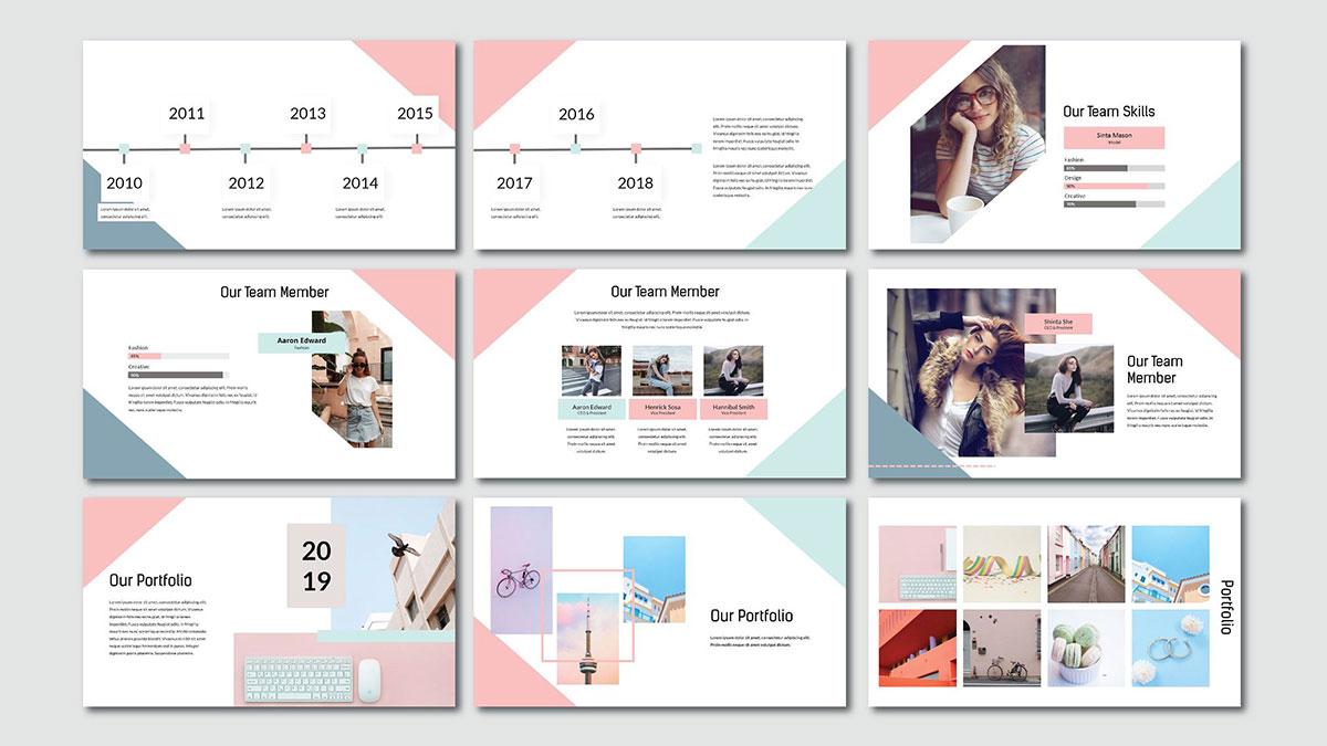 [PPT]粉红拼色清新马卡龙风格PPT模板   拼色   清新   扁平化插图2-泛设计