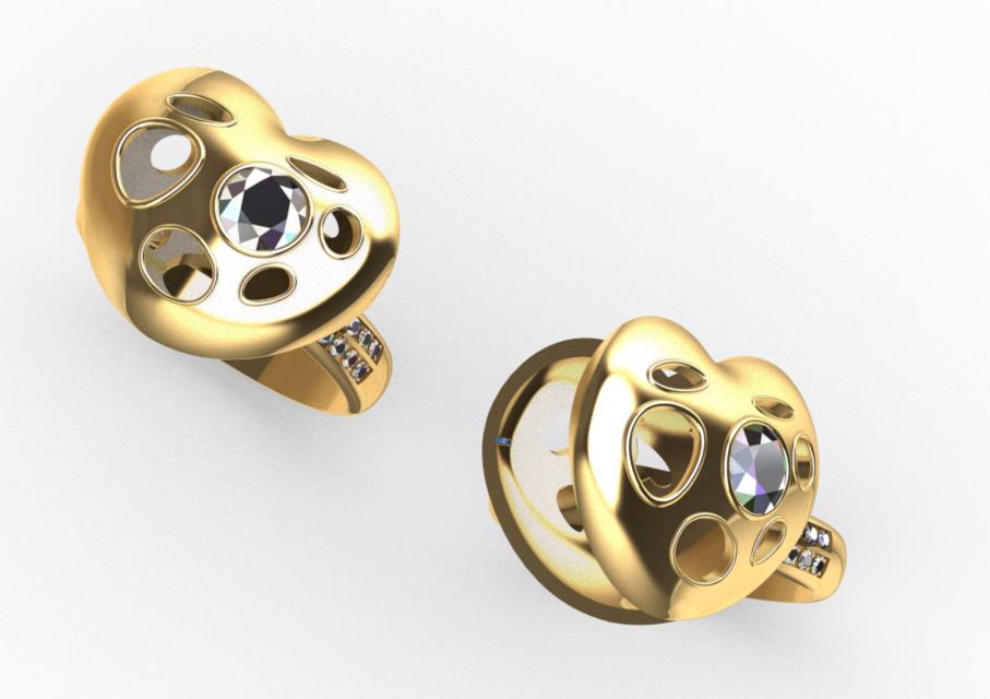 [3D]心型戒指模型 | 戒指设计 | 珠宝设计 | 铰链结构插图3-泛设计