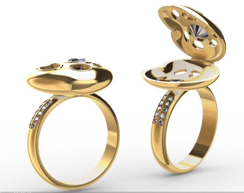 [3D]心型戒指模型 | 戒指设计 | 珠宝设计 | 铰链结构插图1-泛设计