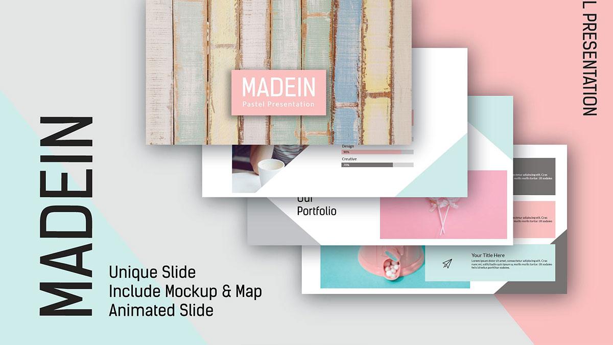 [PPT]粉红拼色清新马卡龙风格PPT模板   拼色   清新   扁平化插图-泛设计