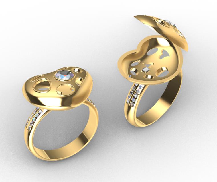 [3D]心型戒指模型 | 戒指设计 | 珠宝设计 | 铰链结构插图-泛设计