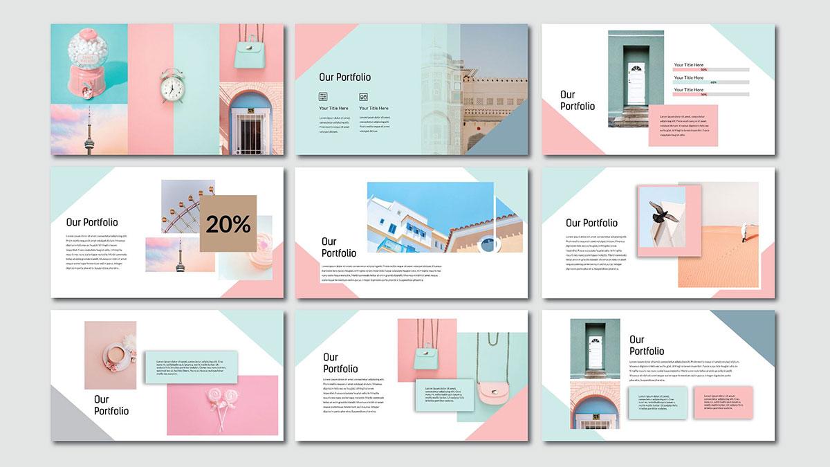 [PPT]粉红拼色清新马卡龙风格PPT模板   拼色   清新   扁平化插图4-泛设计