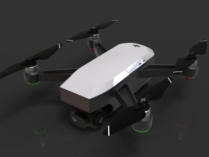 [3D]大疆无人机2模型   dji drone 2   无人机模型   无人机设计插图1-泛设计