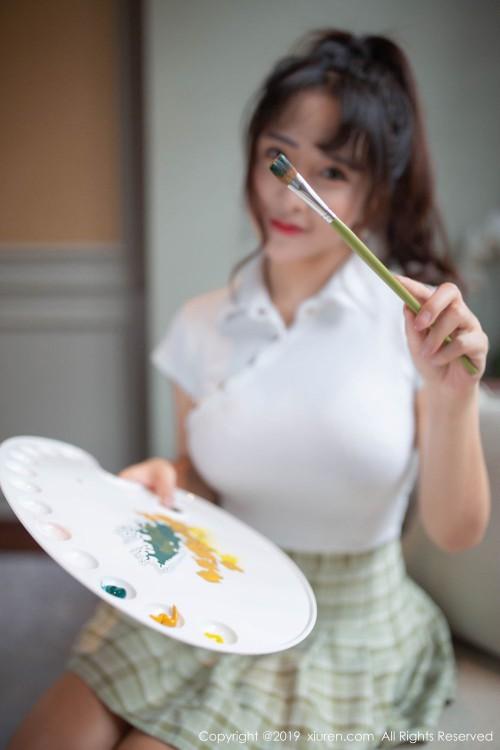 邻家女孩陶喜乐开胸露乳装超短裙翘臀诱惑人体艺术大胆