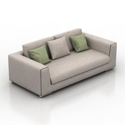 [3D]北欧布艺沙发双人位三人位现代简约家具沙发3D模型插图-泛设计