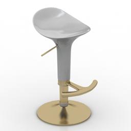 [3D]吧台椅现代简约欧式升降高脚凳3D模型插图-泛设计