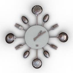 [3D]厨房创意壁挂时钟3D模型插图-泛设计