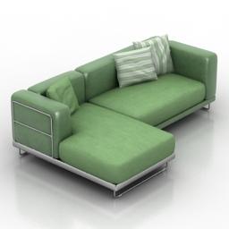 [3D]清新绿色北欧风L型布艺沙发组合3D模型插图-泛设计