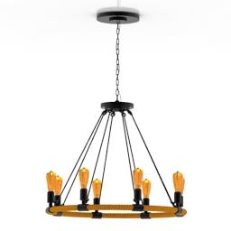 [3D]复古怀旧创意LOFT美式工业风格吊灯3D模型插图-泛设计